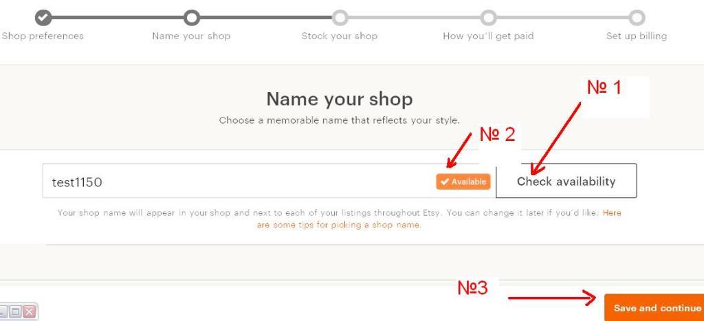 Как открыть Etsy магазин - name your shop