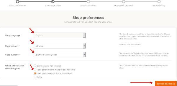 Как открыть Etsy магазин - вкладка Shop preferences