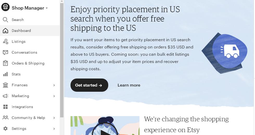 1 Free Shipping Guarantee - доставка в Etsy магазине в США