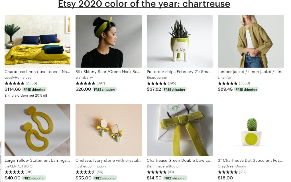 2 Etsy тренд 2020 Chartreuse (зеленовато-желтый)