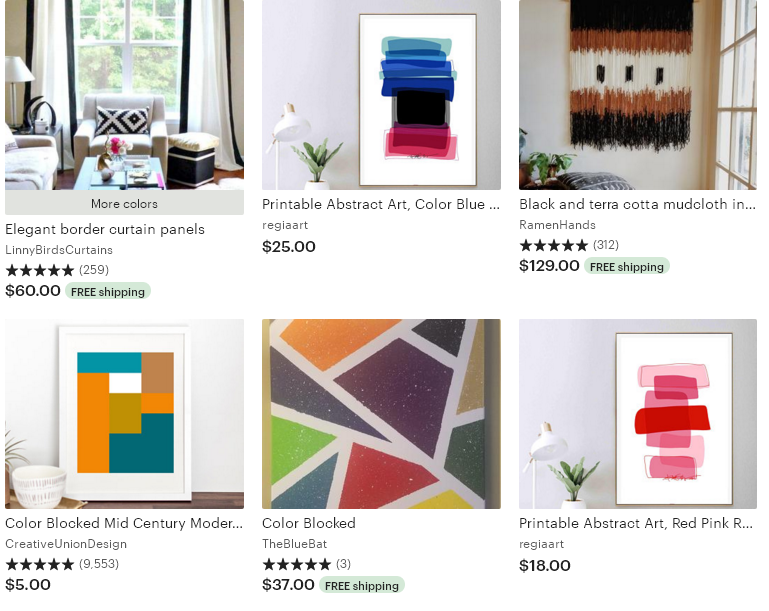 3 Etsy тренд 2020 Color-blocked decor декор из цветных блоков