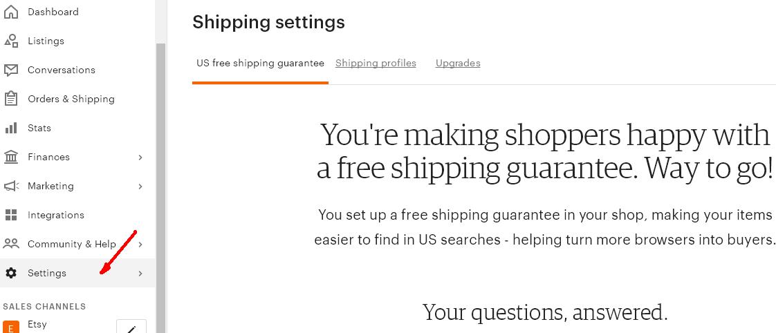 4 Free Shipping Guarantee - доставка в Etsy магазине в США