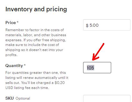Etsy листинг. Выбор настроек для фото и цифровых товаров Quantity