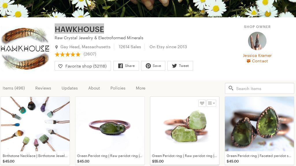 Etsy магазин пример успешных продаж бижутерии с натуральными камнями