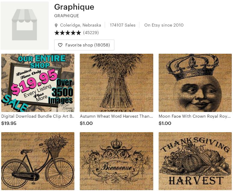 Цифровые товары на Etsy - 5 -  Graphique