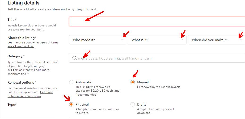 Як відкрити Etsy магазин з України. 11 - заповніть деталі лістингу