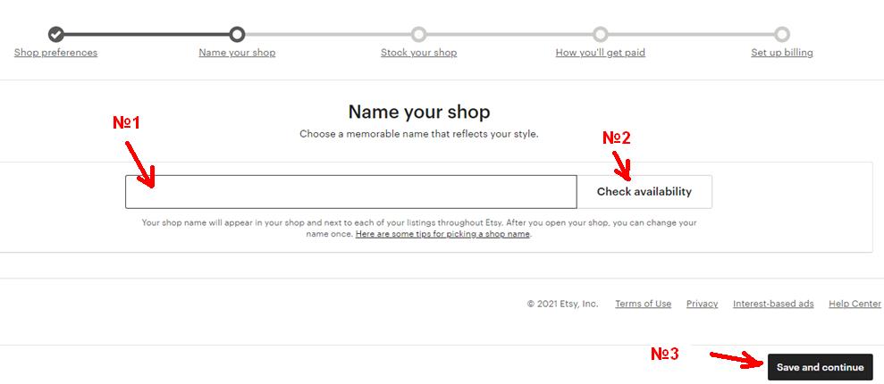 Як відкрити Etsy магазин з України. 7 - заповніть Name your shop.